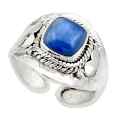 3.14cts solitaire natural blue kyanite silver adjustable ring size 8.5 r49593