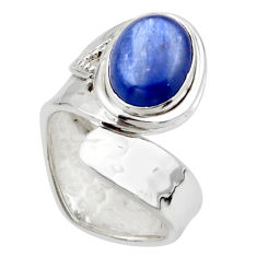 3.41cts solitaire natural blue kyanite silver adjustable ring size 6.5 r49597