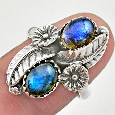 3.98cts solitaire natural blue labradorite 925 silver flower ring size 7 t25278