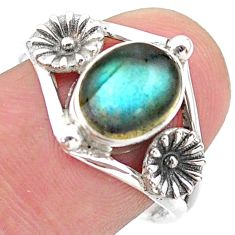 3.12cts solitaire natural blue labradorite 925 silver flower ring size 8 t25152