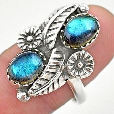4.40cts solitaire natural blue labradorite 925 silver flower ring size 8 t25255