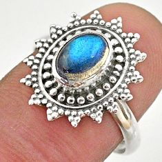 2.09cts solitaire natural blue labradorite 925 silver flower ring size 8 t43876