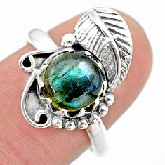3.18cts solitaire natural blue labradorite 925 silver leaf ring size 7.5 t25155