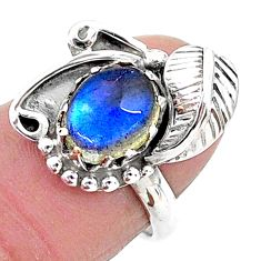 3.19cts solitaire natural blue labradorite 925 silver leaf ring size 5.5 t6399