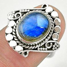 5.11cts solitaire natural blue labradorite 925 silver ring jewelry size 7 t39957
