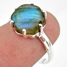 5.43cts solitaire natural blue labradorite 925 silver ring jewelry size 7 t43056