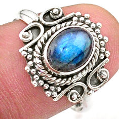 2.09cts solitaire natural blue labradorite 925 silver ring jewelry size 8 t27620