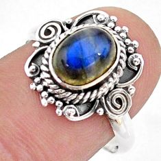 2.09cts solitaire natural blue labradorite 925 silver ring jewelry size 8 t43791
