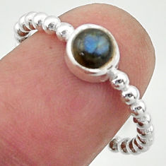 1.06cts solitaire natural blue labradorite 925 silver ring size 8.5 r40533