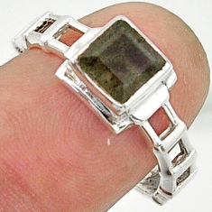 1.30cts solitaire natural blue labradorite 925 silver ring size 7.5 r40614