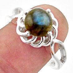 3.50cts solitaire natural blue labradorite 925 silver ring size 8.5 r40675