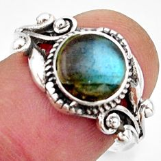 2.92cts solitaire natural blue labradorite 925 silver ring size 6.5 r40857