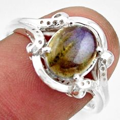 3.26cts solitaire natural blue labradorite 925 silver ring size 8.5 r41912