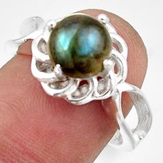 3.12cts solitaire natural blue labradorite 925 silver ring size 7.5 r41914