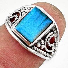 2.73cts solitaire natural blue labradorite 925 silver ring size 5.5 r41952