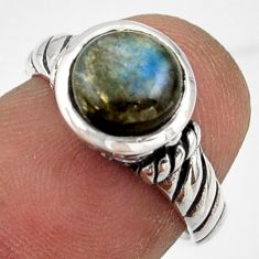 2.72cts solitaire natural blue labradorite 925 silver ring size 5.5 r41971
