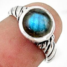 2.73cts solitaire natural blue labradorite 925 silver ring size 5.5 r41977