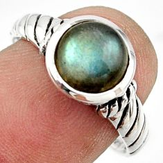 3.03cts solitaire natural blue labradorite 925 silver ring size 8.5 r41978