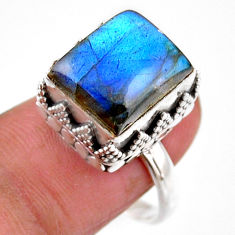 5.35cts solitaire natural blue labradorite 925 silver ring size 8.5 r51521