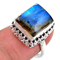 5.12cts solitaire natural blue labradorite 925 silver ring size 6.5 r51522