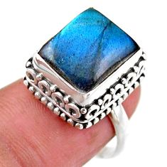 4.82cts solitaire natural blue labradorite 925 silver ring size 6.5 r51528