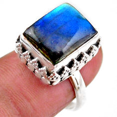4.82cts solitaire natural blue labradorite 925 silver ring size 6.5 r51531