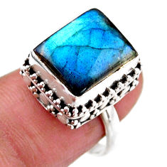 5.12cts solitaire natural blue labradorite 925 silver ring size 6.5 r51536