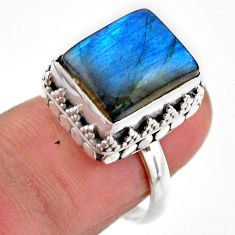 5.30cts solitaire natural blue labradorite 925 silver ring size 6.5 r51545