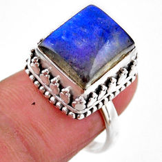 5.18cts solitaire natural blue labradorite 925 silver ring size 6.5 r51546