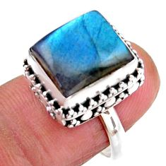 4.71cts solitaire natural blue labradorite 925 silver ring size 6.5 r51549