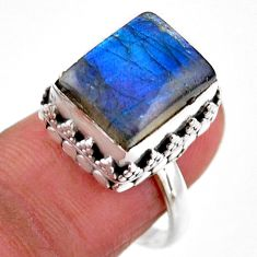 5.01cts solitaire natural blue labradorite 925 silver ring size 7.5 r51551