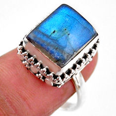 5.28cts solitaire natural blue labradorite 925 silver ring size 7.5 r51552