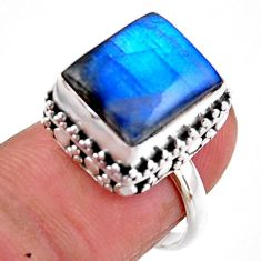 5.12cts solitaire natural blue labradorite 925 silver ring size 6.5 r51557