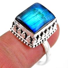 4.99cts solitaire natural blue labradorite 925 silver ring size 8.5 r51558