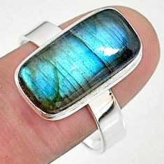 7.55cts solitaire natural blue labradorite 925 silver ring size 10 t18014