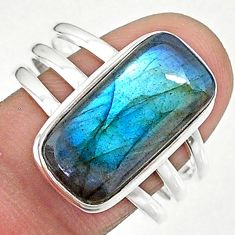 8.68cts solitaire natural blue labradorite 925 silver ring size 10 t18015