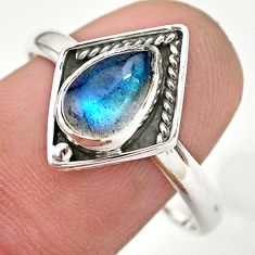 2.61cts solitaire natural blue labradorite 925 silver ring size 10 t28414