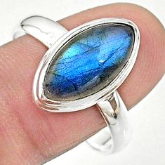 6.54cts solitaire natural blue labradorite 925 silver ring size 11 t18159