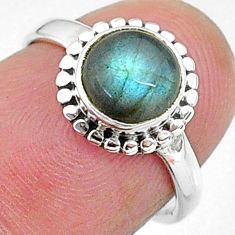 2.68cts solitaire natural blue labradorite 925 silver ring size 5 t11291