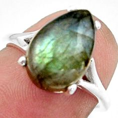 5.21cts solitaire natural blue labradorite 925 silver ring size 6 r41915