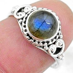2.60cts solitaire natural blue labradorite 925 silver ring size 6 t11279