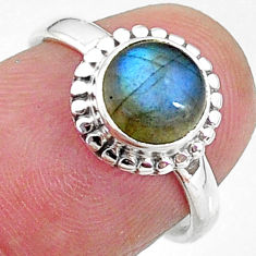2.56cts solitaire natural blue labradorite 925 silver ring size 6 t11289