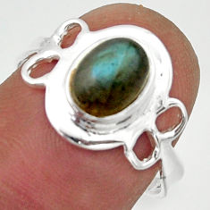 2.60cts solitaire natural blue labradorite 925 silver ring size 7 r40515