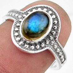 1.96cts solitaire natural blue labradorite 925 silver ring size 7 r41933