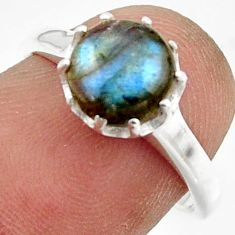 2.71cts solitaire natural blue labradorite 925 silver ring size 7 r41972