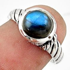 2.96cts solitaire natural blue labradorite 925 silver ring size 7 r41974