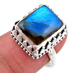 5.01cts solitaire natural blue labradorite 925 silver ring size 7 r51524