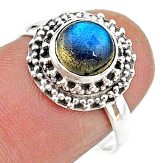 2.71cts solitaire natural blue labradorite 925 silver ring size 7 t15754