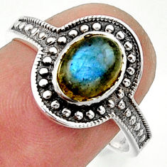 1.94cts solitaire natural blue labradorite 925 silver ring size 8 r40594