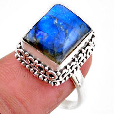 5.18cts solitaire natural blue labradorite 925 silver ring size 8 r51554